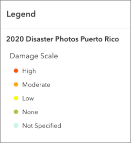 Image of legend for 2020 Disaster Photos with a Damage Scale including the following values: High, Moderate, Low, None, Not Specified