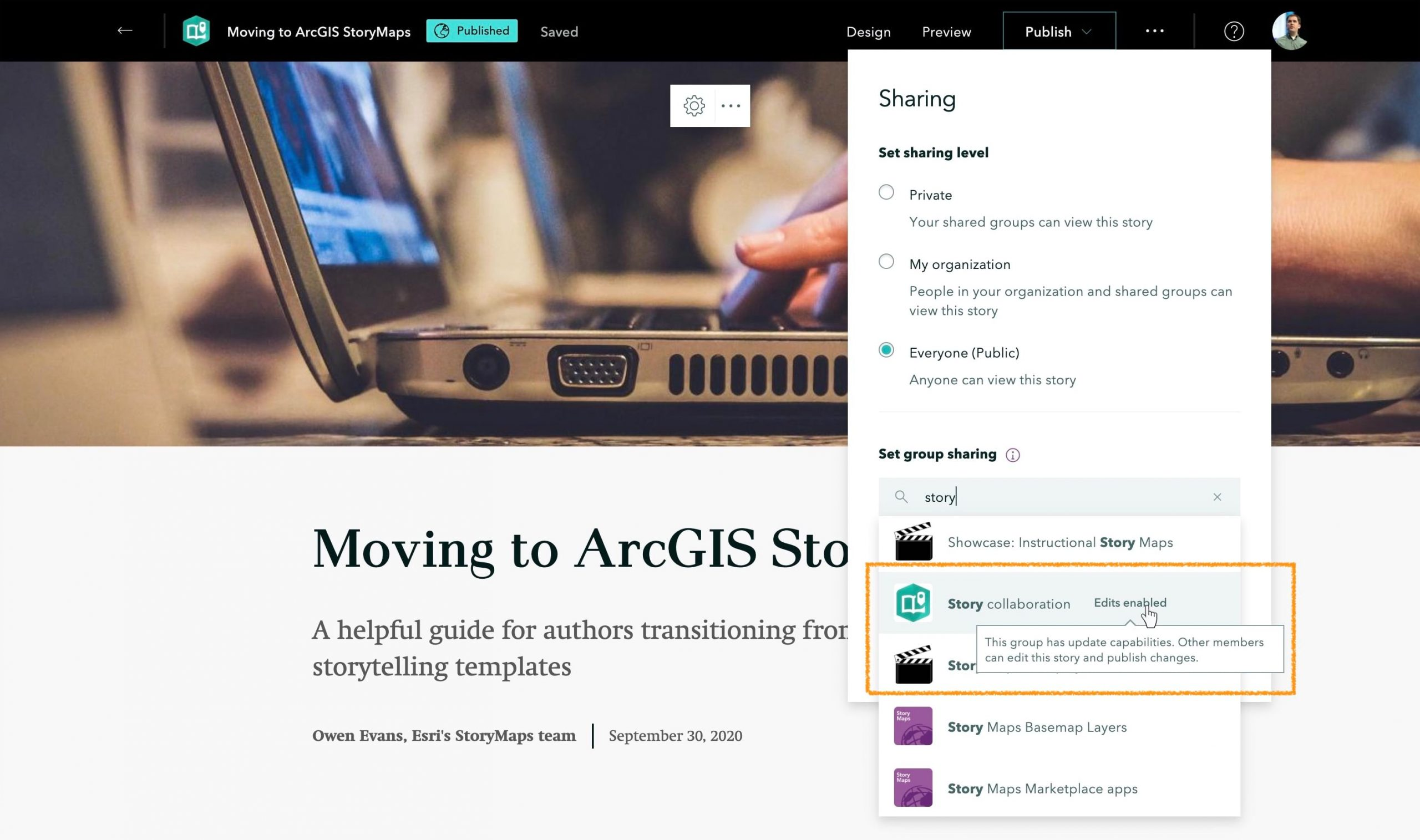 Publishing a story to a shared update group