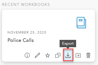 Screenshot of exporting ArcGIS Insights Worbook
