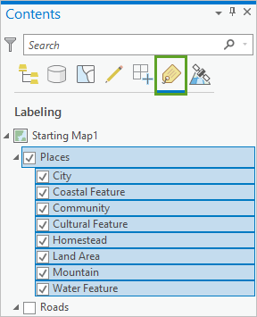 Places layer in the Contents pane selected with all label classes beneath