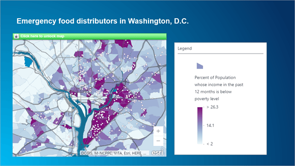 Powerpoint slide with a dynamic map and legend