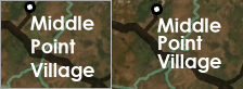 A map label with default line spacing compared to reduced line spacing
