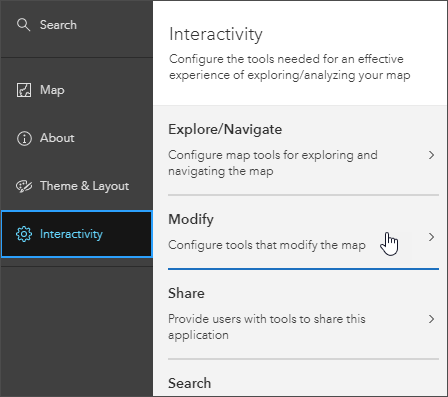 Interactivity > Modify