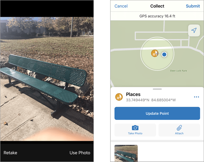 2 Images: 1.) Picture of Bench 2.) Point Collection with Bench Image