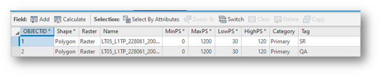 The SR and QA values in the Tag field of the Footprint attribute table