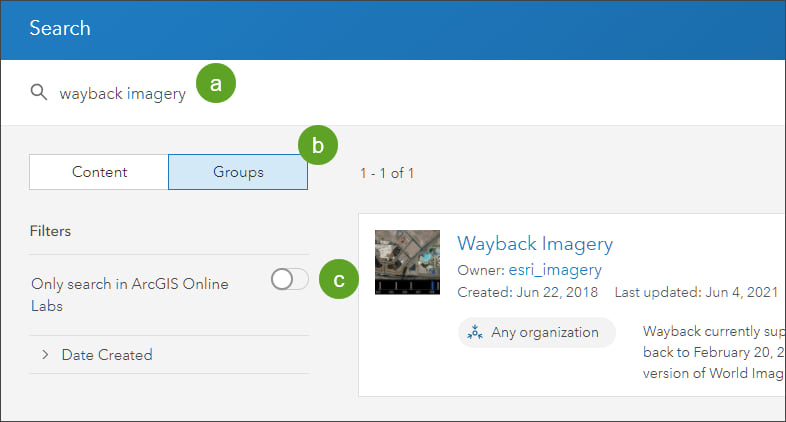 Search for wayback imagery
