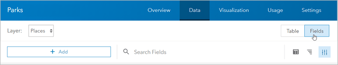 Fields tab with Places layer