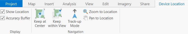 Device Location toolbar