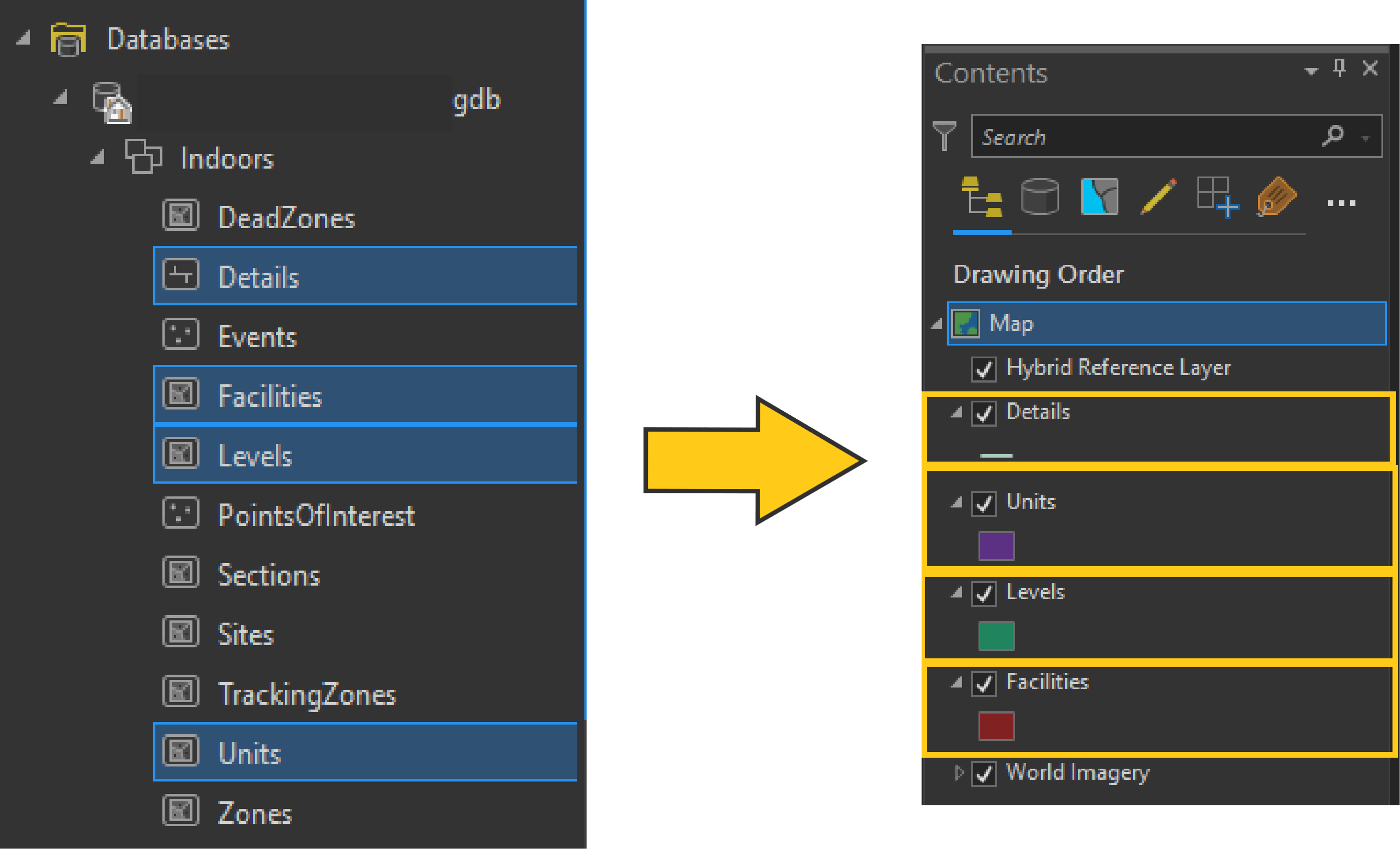 Adding ArcGIS Indoors Layers to Maps Contents