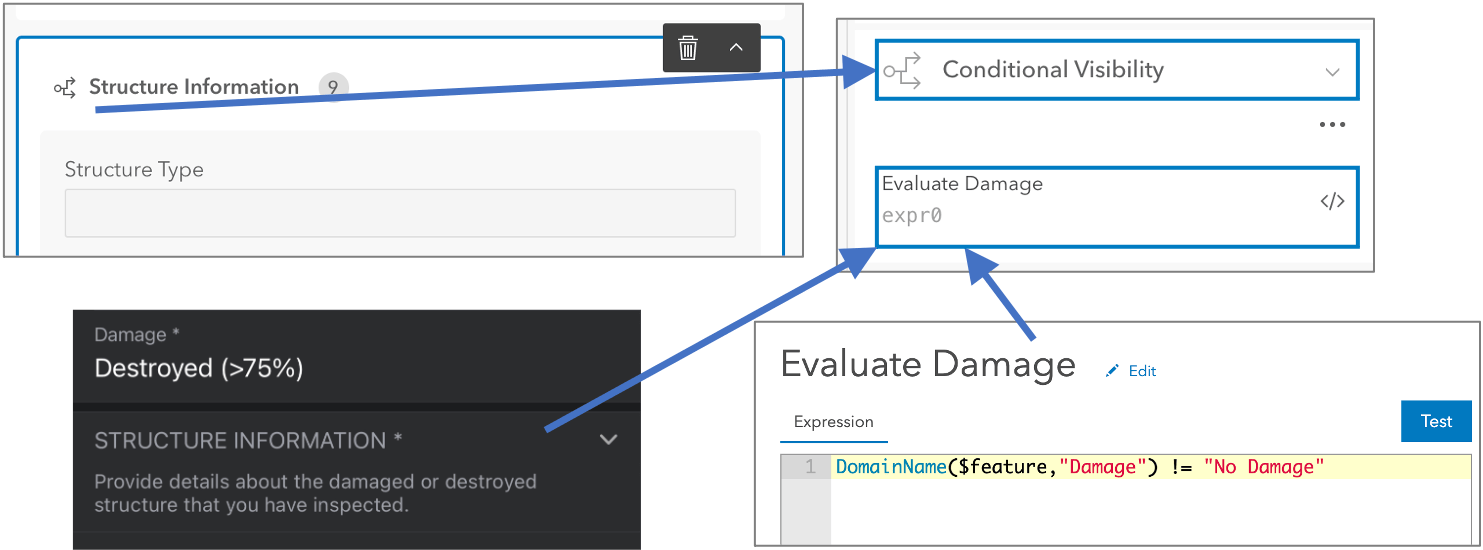 Control the visibility of fields and groups using an Arcade expression.