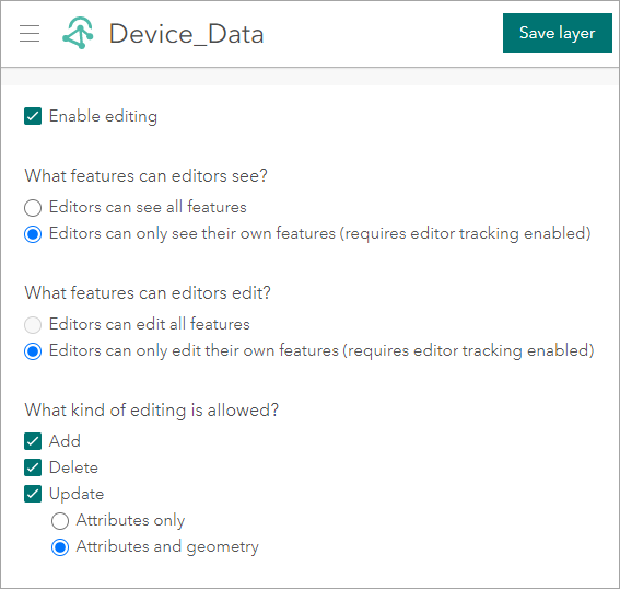 ArcGIS Velocity data access and control for feature layers