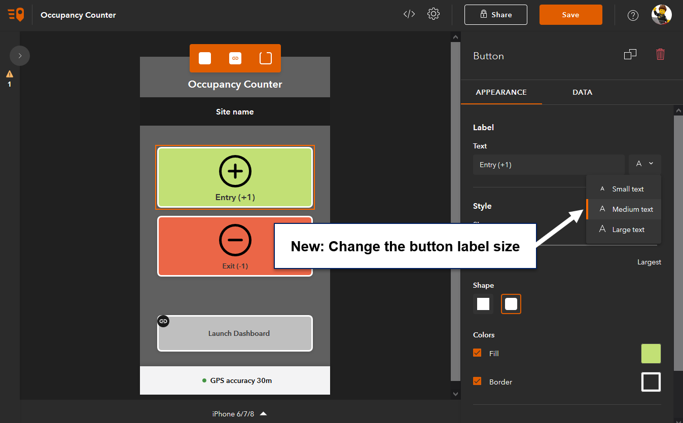 QuickCapture designer lets you change the button label size