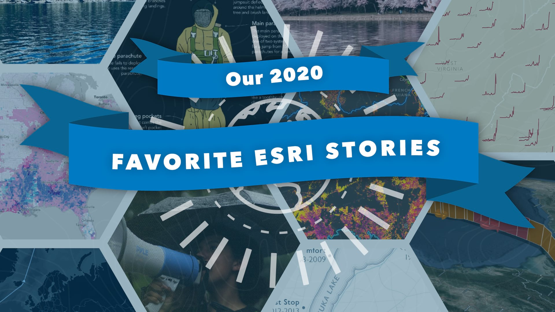 A clickable graphic that links to a collection of outstanding stories published by Esri employees.