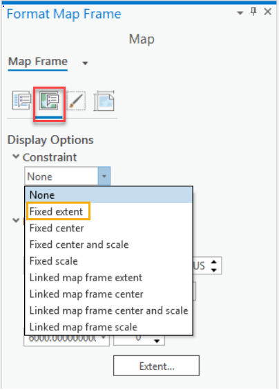 Picture of the Format Map Frame showing the Display Options tab and the Constraint drop down