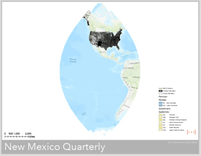 A layout showing a sliver of the globe, but data is only visible for the US. The map extent is clearly wrong.