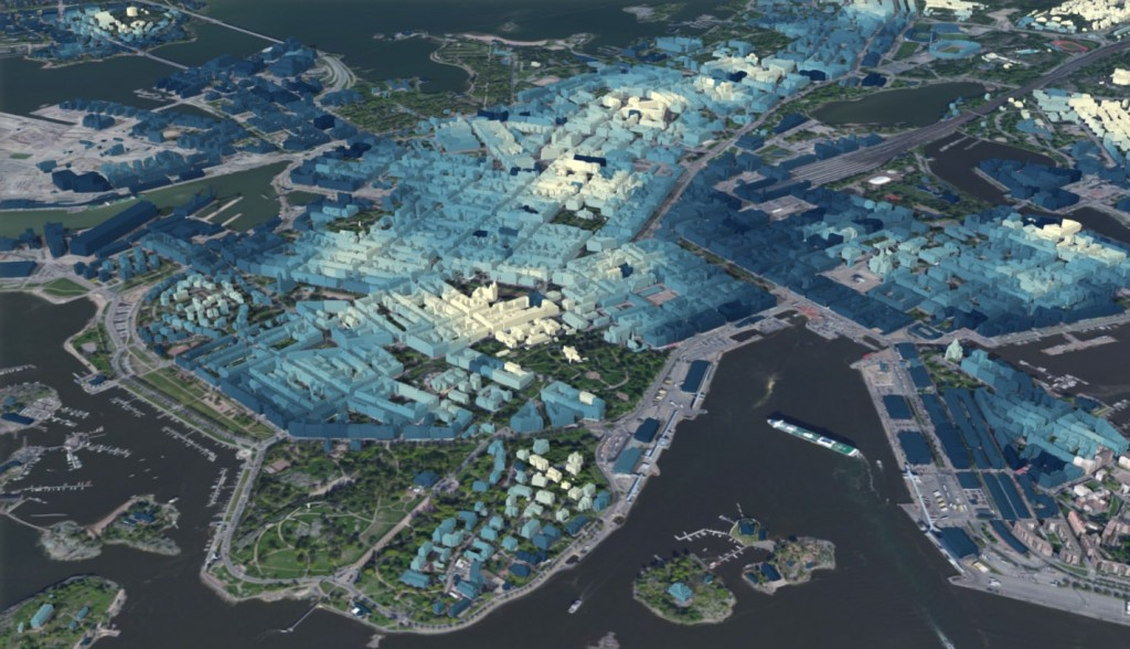 Helsinki 3D buildings colored by ground elevation