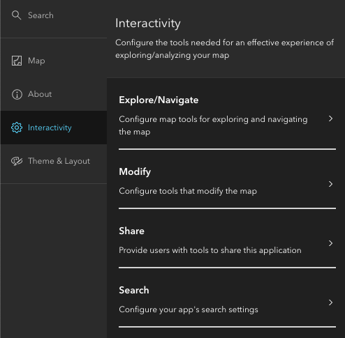 Image of the settings available in the Interactivity section of Full Setup