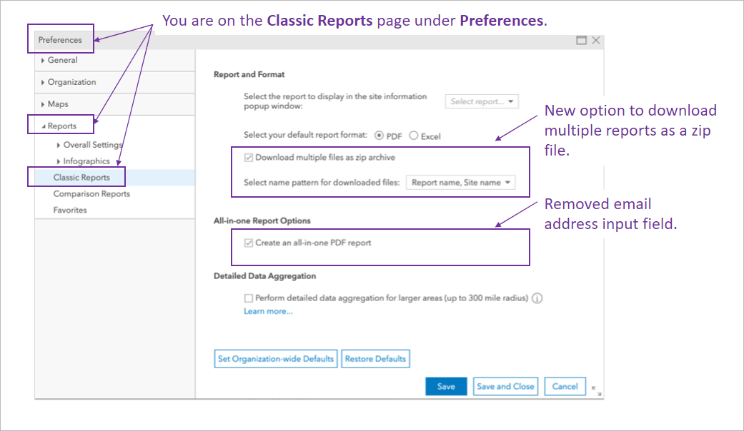 Screen A showing Classic Reports preferences