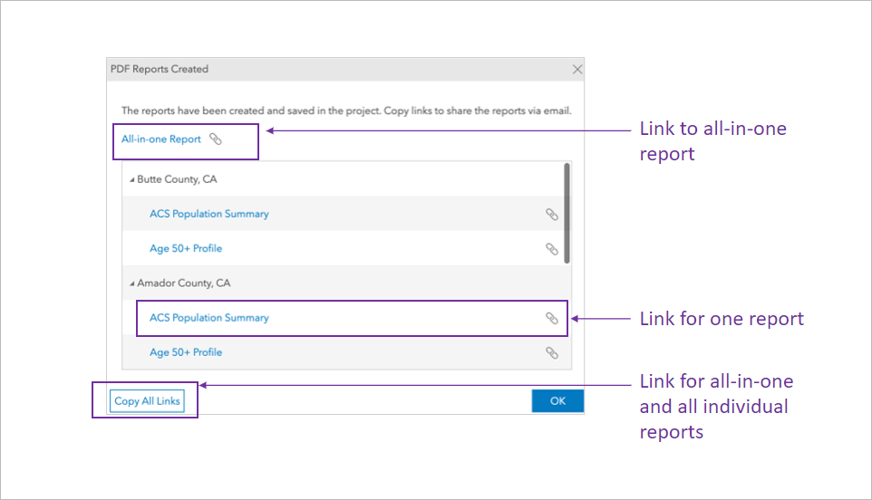 Screen C showing PDF Reports Created dialog