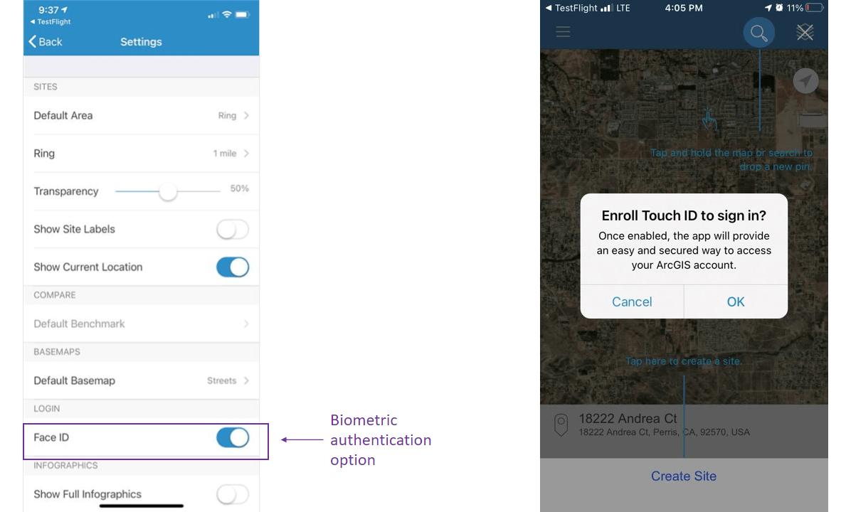 Screen G showing biometric authentication