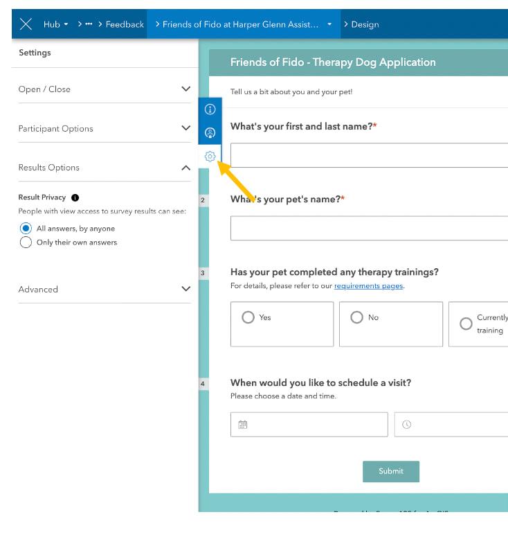 Side panel showing survey settings