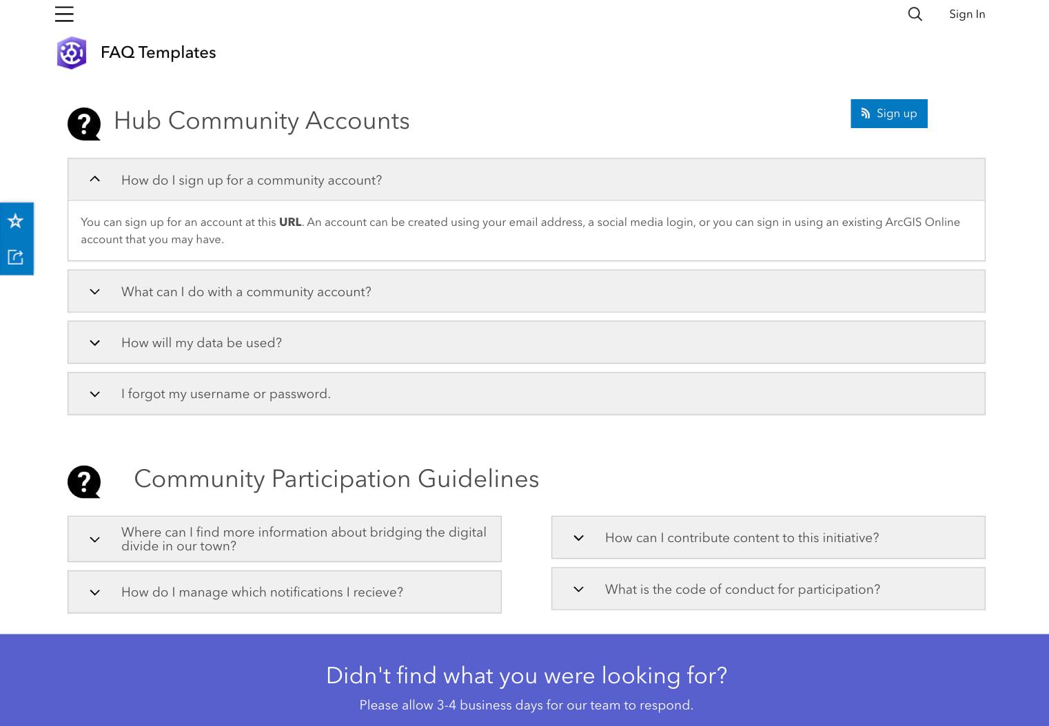 ArcGIS Hub community FAQs page template