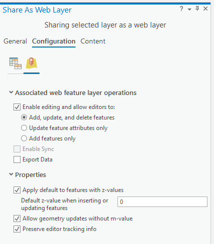 Share as web layer configuration