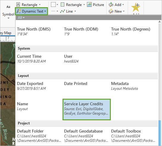 Service Layer Credits option in the Dynamic Text gallery