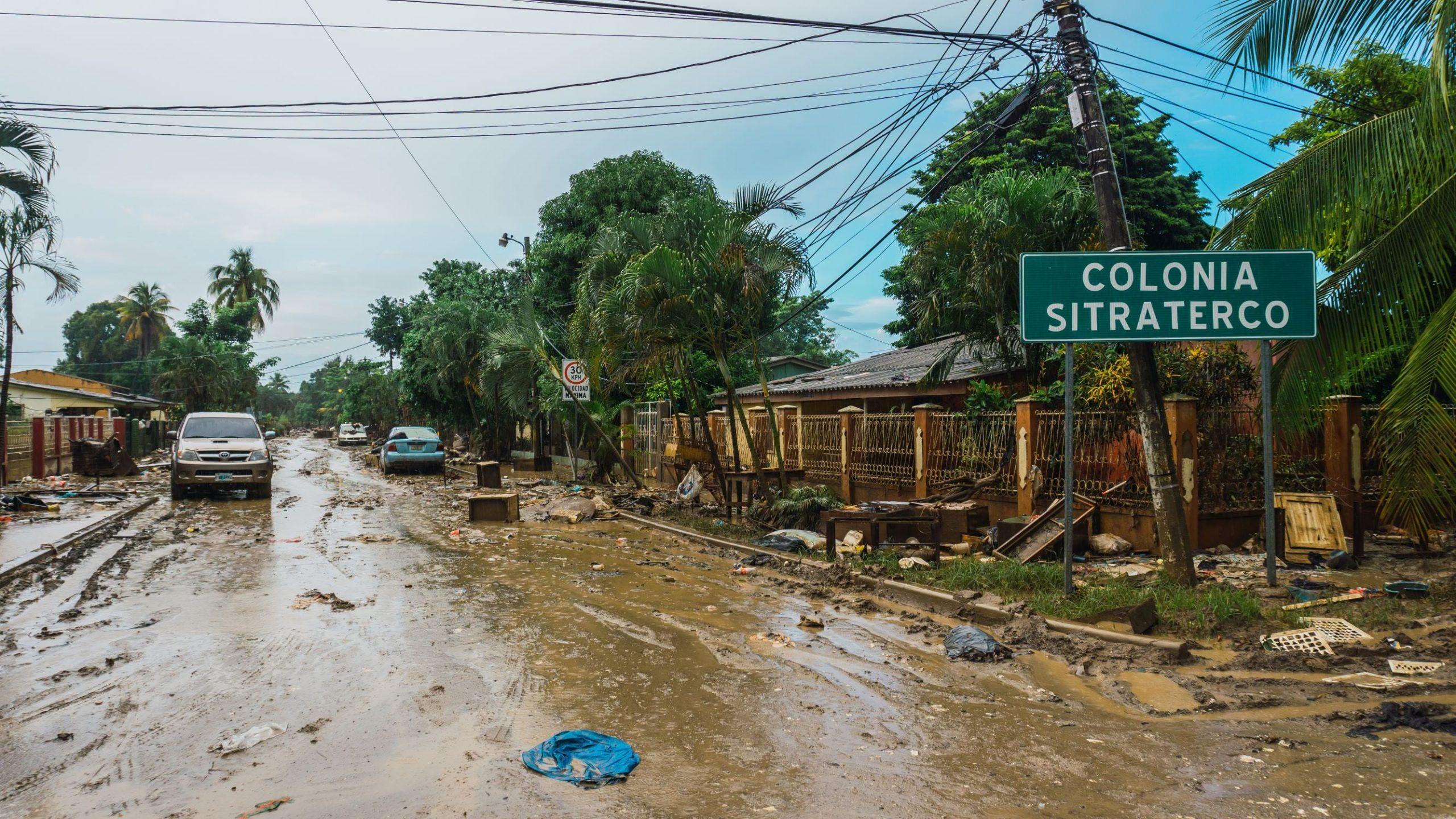 Picture of the aftermath of flooding from Hurricanes Eta and Iota in Valle de Sula, Honduras.