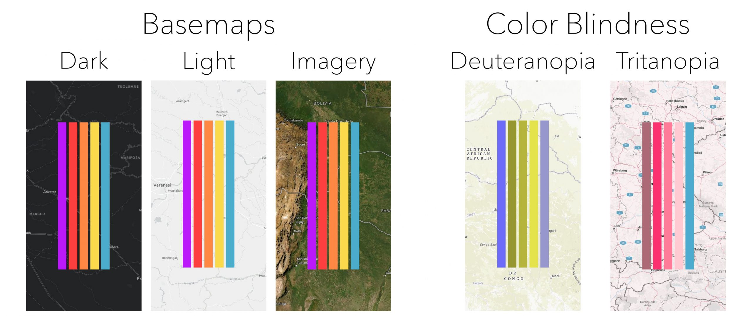 Color palette showing on various basemaps and color blindness.