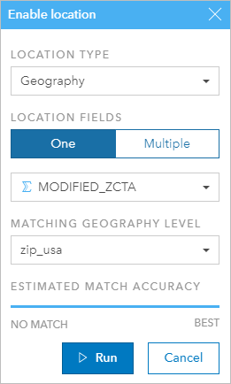 Enable location by geography