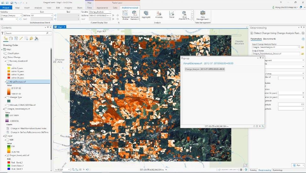 Analyze changes using LandTrendr