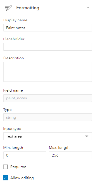 Format paint notes field