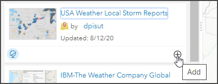 Add USA Weather Local Storm Reports layer