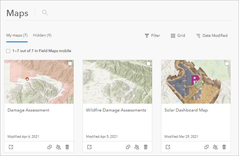Maps page in Grid view