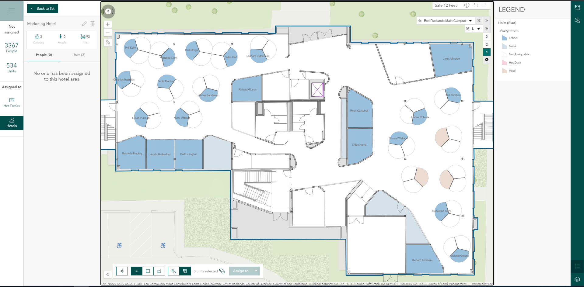 Space Planner showing space availability on an indoor map