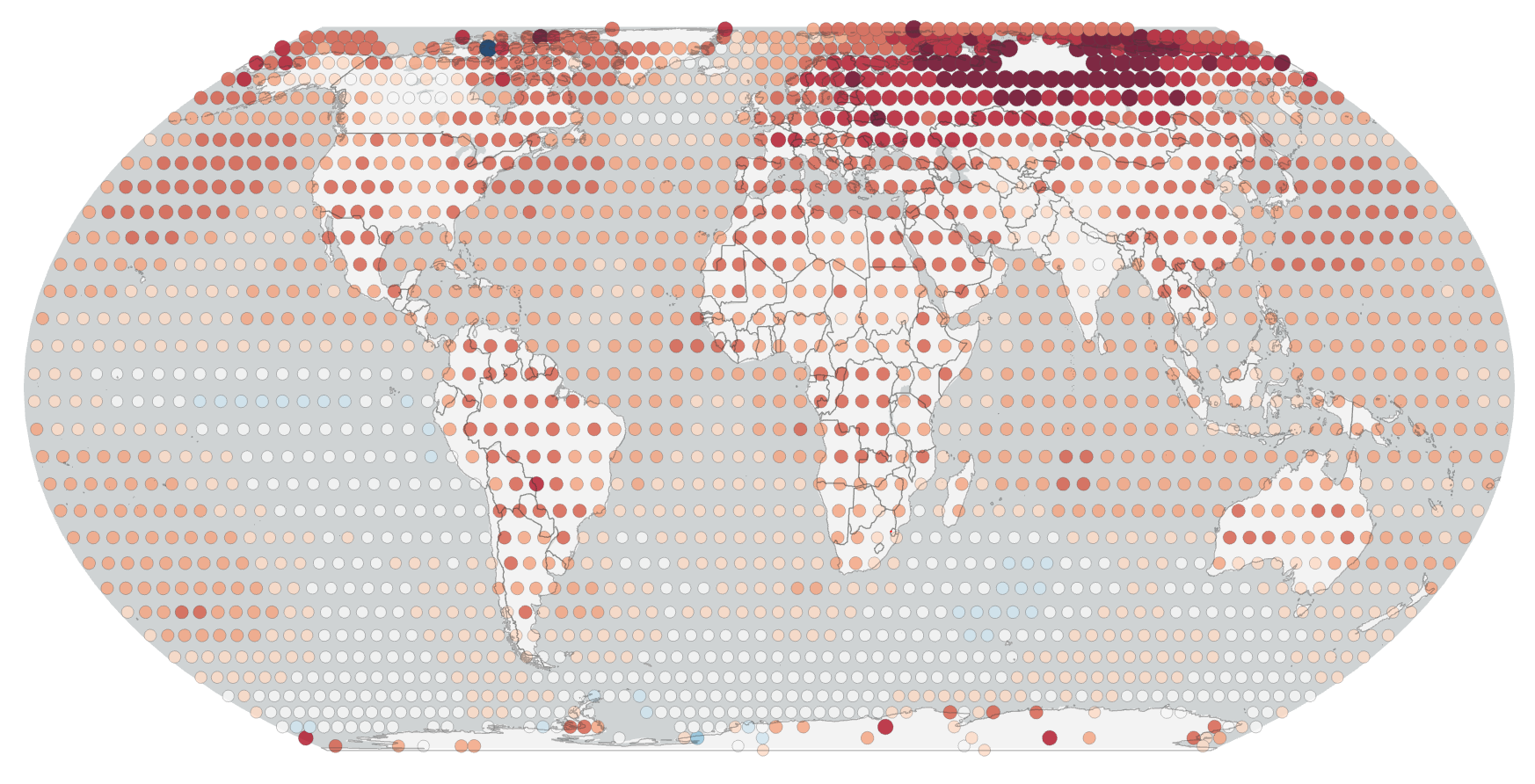 Map of lobal temperatures for 2020