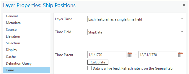 Time properties for a layer