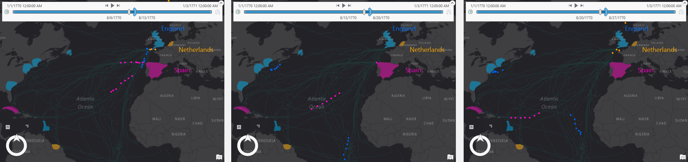 Three weeks of shipping traffic from 1770