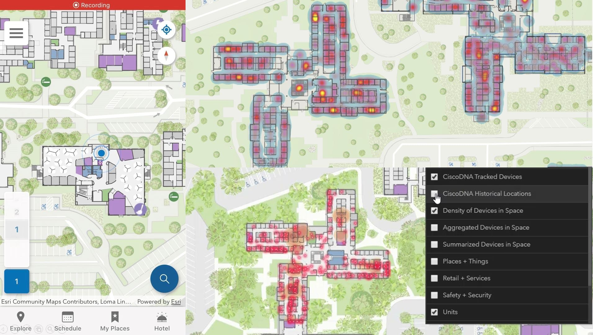 indoor positioning blue dot in ArcGIS Indoors mobile interface and tracked and historical devices and heat mapping