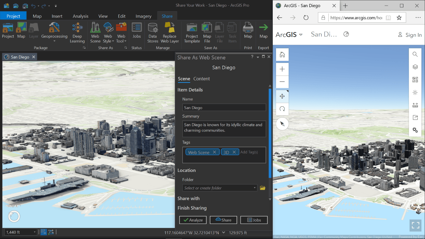Share web scene from ArcGIS Pro for web browser viewing