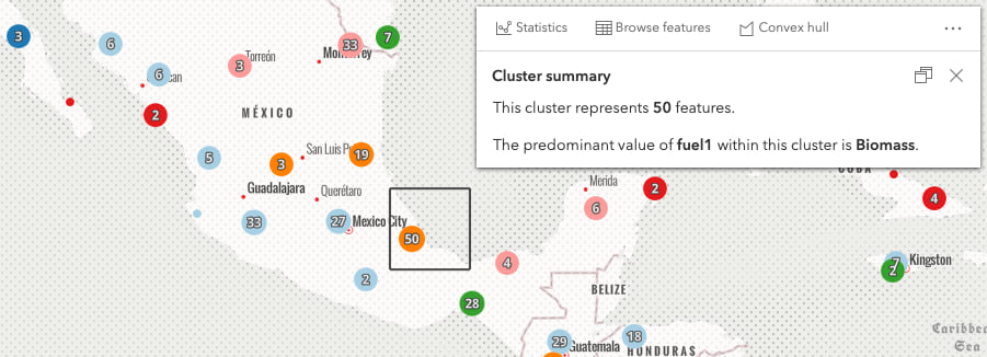 Clustered power plants with a square graphic indicating the cluster's extent.
