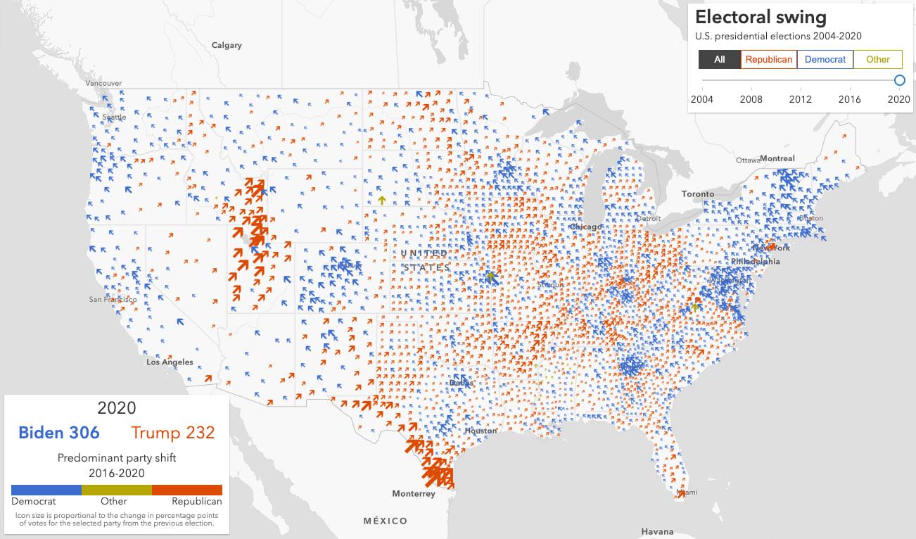 Predominant electoral shift in votes for U.S. president from 2016-2020.