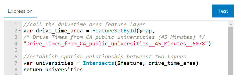 var drive_time_area = FeatureSetByID($map, layer id retrieved through Arcade expression interface); var universities = Intersects($feature, drive_time_area); return universities;
