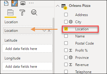 Drag the Location field into the Location field well in Power BI