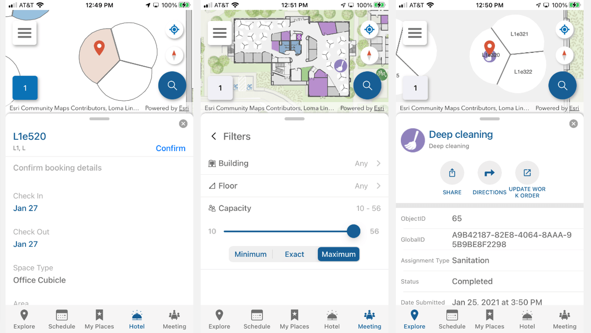 mobile interfaces showing space reservations and service requests