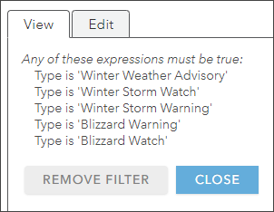 View current filters