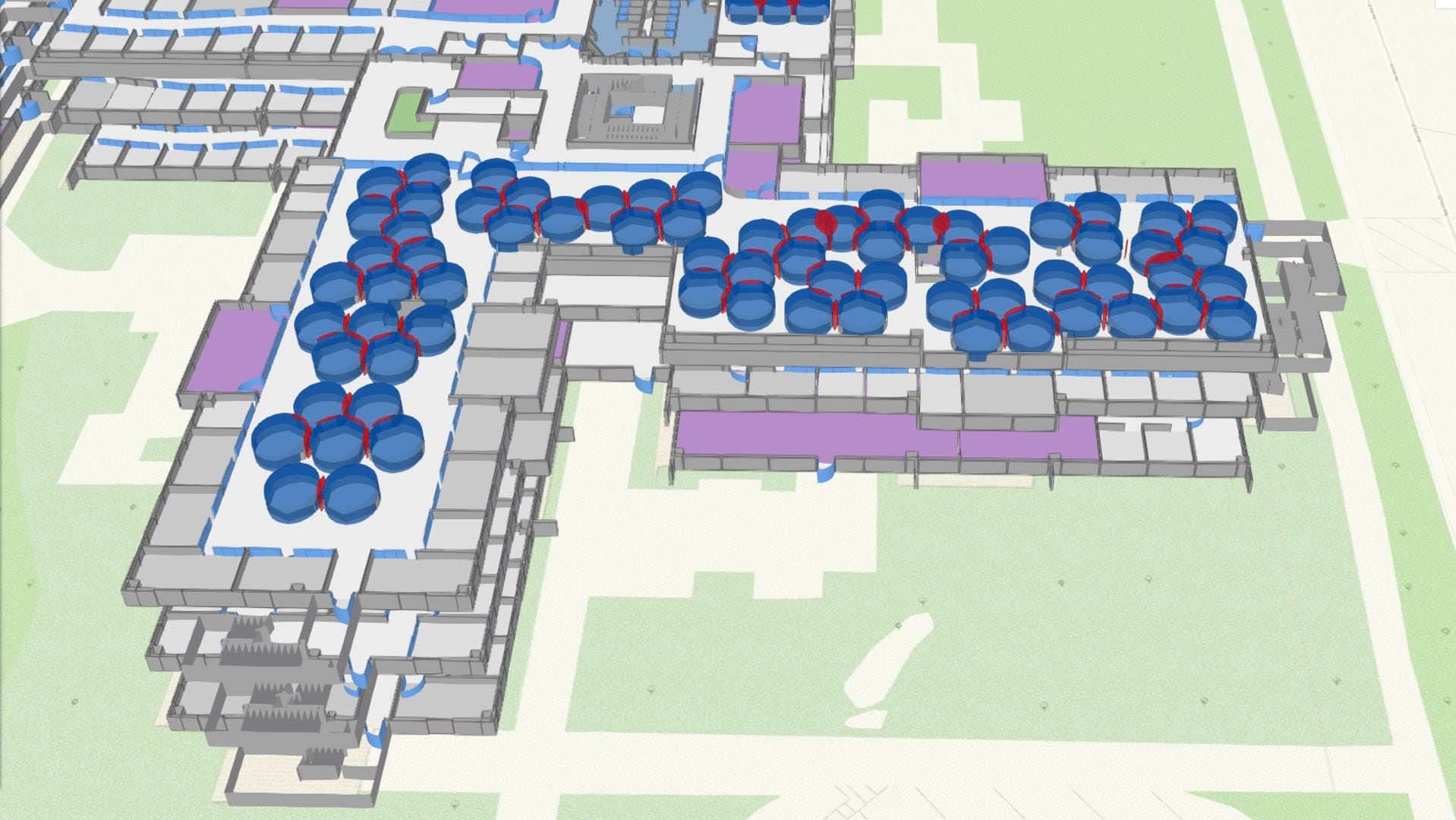 3D indoor map showing social distance analysis of open office space types