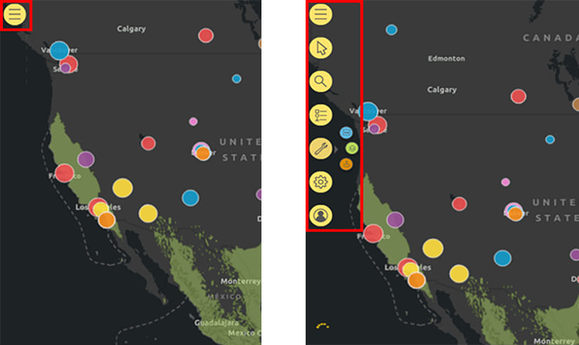 ArcGIS for Power BI map tools collapsed and expanded