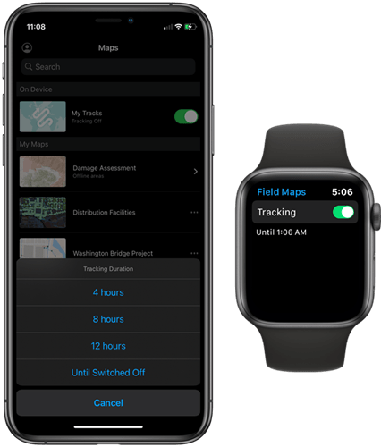 Start tracking on a mobile device or Apple Watch